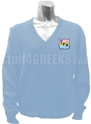 Tau Gamma Delta V-Neck Sweater with Crest, Light Blue