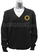 Tau Gamma Sigma V-Neck Sweater with Crest, Black