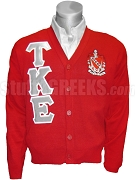Tau Kappa Epsilon Greek Letter Cardigan with Crest, Red