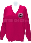 Theta Phi Sigma V-Neck Sweater with Crest, Fuschia