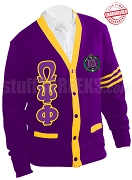 Omega Psi Phi Greek Letter Cardigan with Crest and Gold Stripes, Purple (A+)