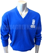 Phi Beta Sigma V-Neck Sweater with Letters Under Crest, Royal Blue