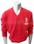 Kappa Alpha Psi V-Neck Sweater with Letters Under Crest, Red