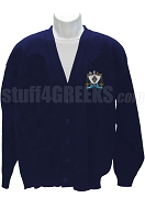 Zeta Beta Tau Crest Cardigan, Navy Blue