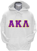 Alpha Kappa Lambda Pullover Hoodie Sweatshirt with Greek Letters, White