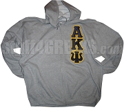 Alpha Kappa Psi Full-Zip Hoodie Sweatshirt with Greek Letters, Gray