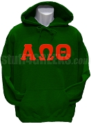 Alpha Omega Theta Greek Letter Pullover Hoodie Sweatshirt, Forest Green