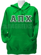 Alpha Pi Chi Greek Letter Pullover Hoodie Sweatshirt, Kelly Green