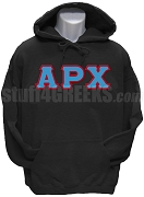 Alpha Rho Chi Greek Letter Pullover Hoodie Sweatshirt, Black