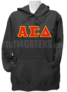 Alpha Sigma Delta Ladies Greek Letter Pullover Hoodie Sweatshirt, Black