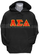 Alpha Sigma Delta Men's Greek Letter Pullover Hoodie Sweatshirt, Black