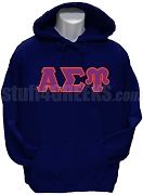 Alpha Sigma Upsilon Greek Letter Pullover Hoodie Sweatshirt, Navy Blue