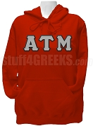Alpha Tau Mu Greek Letter Pullover Hoodie Sweatshirt, Red