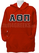 Alpha Theta Pi Greek Letter Pullover Hoodie Sweatshirt, Red