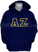 Alpha Zeta Greek Letter Pullover Hoodie Sweatshirt, Navy Blue