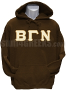 Beta Gamma Nu Greek Letter Pullover Hoodie Sweatshirt, Brown