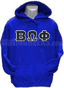 Beta Omega Phi Greek Letter Pullover Hoodie Sweatshirt, Royal Blue
