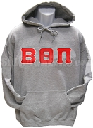 Beta Theta Pi Pullover Hoodie Sweatshirt with Greek Letters, Gray