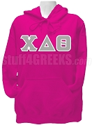 Chi Delta Theta Greek Letter Pullover Hoodie Sweatshirt, Hot Pink