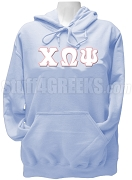 Chi Omega Psi Greek Letter Pullover Hoodie Sweatshirt, Light Blue