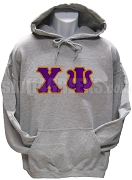 Chi Psi Pullover Hoodie Sweatshirt with Greek Letters, Gray
