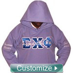 Custom Embroidered Greek Pullover Hoodie Sweatshirt - Sewn-On Letters - Includes Lifetime Embroidery Guarantee
