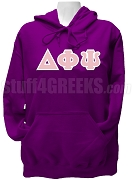 Delta Phi Psi Greek Letter Pullover Hoodie Sweatshirt, Purple