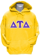 Delta Tau Delta Pullover Hoodie Sweatshirt with Greek Letters, Gold