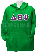 Delta Theta Psi Greek Letter Pullover Hoodie Sweatshirt, Kelly Green