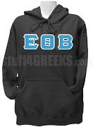 Epsilon Theta Beta Greek Letter Pullover Hoodie Sweatshirt, Black