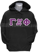Gamma Xi Phi Men's Greek Letter Pullover Hoodie Sweatshirt, Black