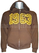 Iota Phi Theta Full-Zip Hoodie Sweatshirt with Embellished 1963, Brown
