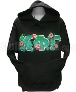 Kappa Phi Gamma Greek Letter Pullover Hoodie Sweatshirt with Roses Thru, Black