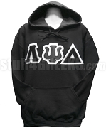 Lambda Psi Delta Triple Layer Greek Letter Pullover Hoodie Sweatshirt, Coal Black