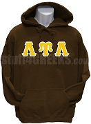 Lambda Upsilon Lambda Greek Letter Pullover Hoodie Sweatshirt, Brown