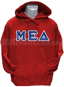 Mu Epsilon Delta Greek Letter Men's Pullover Hoodie Sweatshirt, Red