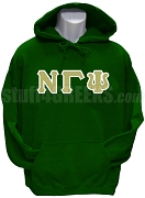 Nu Gamma Psi Greek Letter Pullover Hoodie Sweatshirt, Forest Green