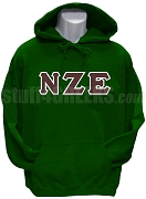 Nu Zeta Epsilon Greek Letter Pullover Hoodie Sweatshirt, Forest Green