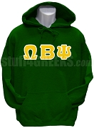Omega Beta Psi Greek Letter Pullover Hoodie Sweatshirt, Forest Green