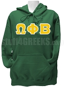 Omega Phi Beta Greek Letter Pullover Hoodie Sweatshirt, Forest Green