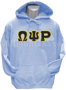 Omega Psi Rho Greek Letter Pullover Hoodie Sweatshirt, Light Blue