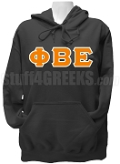Phi Beta Epsilon Ladies Greek Letter Pullover Hoodie Sweatshirt, Black