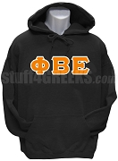 Phi Beta Epsilon Men's Greek Letter Pullover Hoodie Sweatshirt, Black