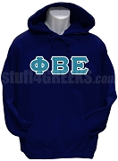 Phi Beta Epsilon Greek Letter Pullover Hoodie Sweatshirt, Navy Blue