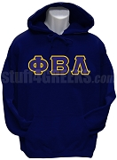 Phi Beta Lambda Men's Greek Letter Pullover Hoodie Sweatshirt, Navy Blue