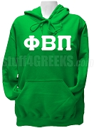 Phi Beta Pi Ladies Greek Letter Pullover Hoodie Sweatshirt, Kelly Green