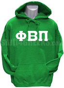 Phi Beta Pi Men's Greek Letter Pullover Hoodie Sweatshirt, Kelly Green