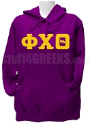 Phi Chi Theta Ladies Greek Letter Pullover Hoodie Sweatshirt, Purple