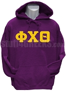 Phi Chi Theta Men's Greek Letter Pullover Hoodie Sweatshirt, Purple