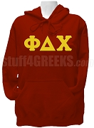 Phi Delta Chi Ladies Greek Letter Pullover Hoodie Sweatshirt, Crimson